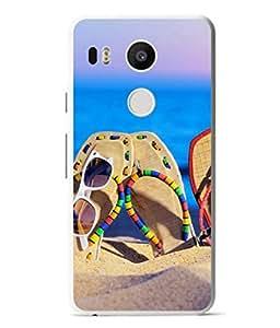 PrintVisa Designer Back Case Cover for LG Nexus 5X :: LG Google Nexus 5X New (Beach Sea Side Sand Colourful Footwear Specs Water)