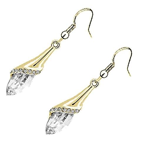 GWG® Long Drop Earrings for Women 18K Gold Plated Flower