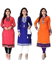 Pramukh Fashion Cotton Semistichead Pack Of 3 Kurtis Combo(1002.1003.blue V)