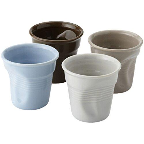 PromotionGift Ensemble de 4 tasses à expresso avec effet froissé 80 ml
