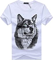 HHC.G Men's T-shirt wolf pattern Fashion cotton round neck casual top couple