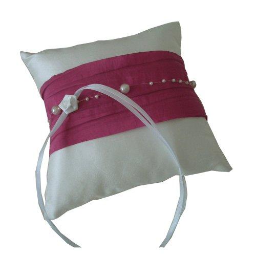 Anneau Boutique Coussin Coussin Perle creppes en couleurs différentes   à la main 17x 17cm Kissen: offwhite , Band: safran Kissen: offwhite , Band: pink