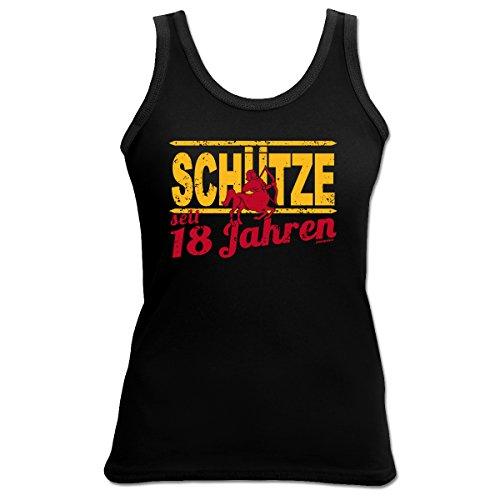 """super Figur mit Jahrgang Tank-Top Farbe: schwarz """" SCHÜTZE seit 18 Jahren"""" Schwarz"""