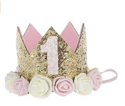 IMBSB 1 Jahr Blume Krone Rose Gold Blume Krone Stirnband für Kinder Geburtstag Party Baby Leistung Foto Stirnband Stirnband