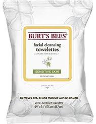 Burt's Bees Feuchttücher zur Gesichtsreinigung für empfindliche Haut mit Baumwollextrakt, 1er Pack (1 x 30 Stück)