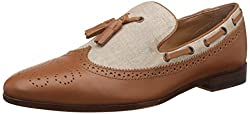 Carlton London Mens Nevin Tan Leather Loafers and Moccasins - 9 UK/India (43 EU)