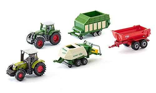 SIKU 6286 - Coffret Cadeau 7 - Agriculture, Métal/Plastique, Multicolore, Assortiment De Jouets Compatibles, Pièces Mobiles, 2 Tracteurs, 3 Remorques