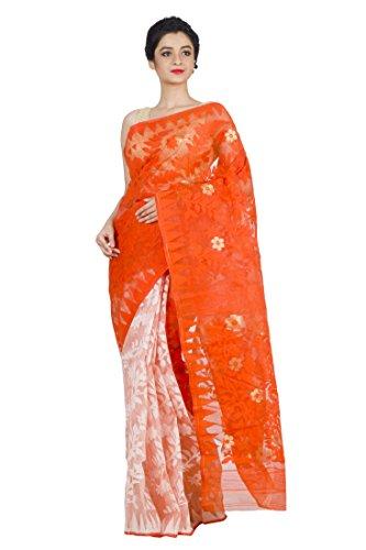 Dhakai Jamdani Saree (Off-White & Orange)