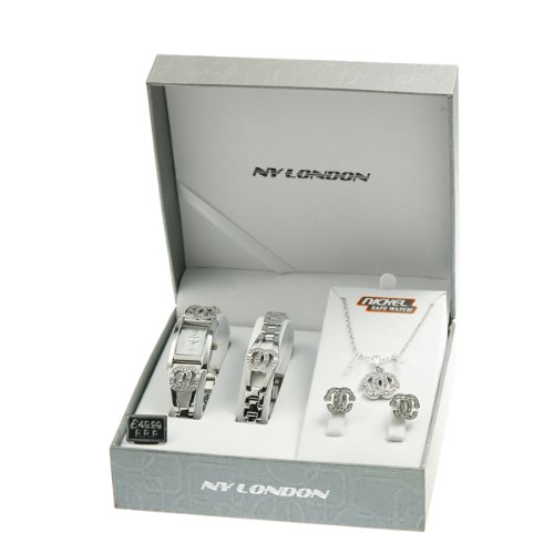 LADIES WATCH GIFT BIRTHDAY NECKLACE BRACELET EARRINGS SET PENDANT WOMENS GIRLS (SILVER)