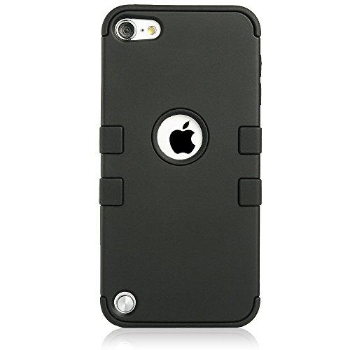 iPod Touch 5 Hülle, ULAK iPod Touch 6 Hülle 3in1 Stoßfest Hybrid High Impact Hart PC und Weiche Silikon Schutzhülle Tasche Case Cover für Apple iPod Touch 5 6 Generation (Rosa + Grau) schwarz