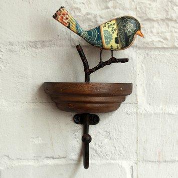 Crochet Mural Vintage Design Decoratif Porte Clés Original Oiseau Une succursale Fait Main