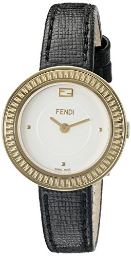 Fendi My Way F354424011 28mm Stainless Steel Case Black Calfskin Anti-Reflective Sapphire Women's Watch