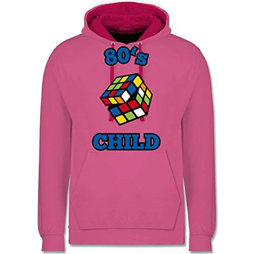 Statement Shirts - 80's Child - Zauberwürfel - Kontrast Hoodie Rosa/Fuchsia