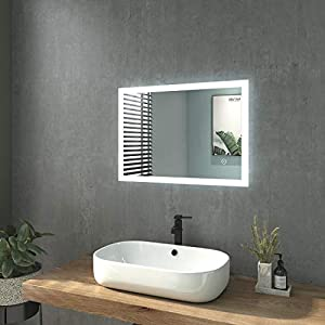 WELMAX Badspiegel mit Beleuchtung 50x70cm Badezimmerspiegel mit Beleuchtung LED Badspiegel Kaltweiß Lichtspiegel Wandspiegel mit Touchschalter IP44 Energiesparend Vertikal/Horizontal Montage