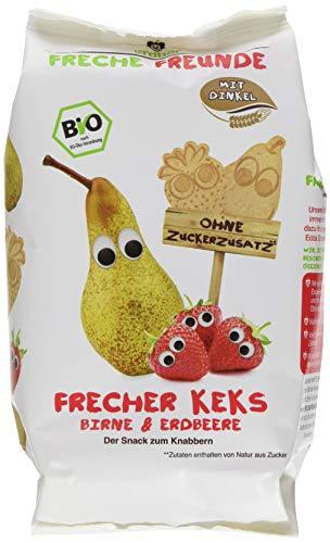 """Freche Freunde Bio Kinder Keks \""""Birne & Erdbeere\"""", ohne Zuckerzusatz, mit Dinkel, Snack für Kinder & Babys ab 1 Jahr, 7er Pack (7 x 125 g)"""