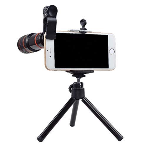 Hemobllo Handy-Kamera-Objektiv-Kit mit Stativ-Aufstecklinse kompatibel für iPhone Samsung und mehr (schwarz)