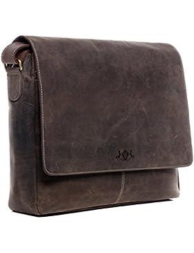 SID & VAIN® Laptop-Messenger bag SPENCER - Herren Umhängetasche groß Ledertasche fit 15 Zoll Laptop mit herausnehmbarer...