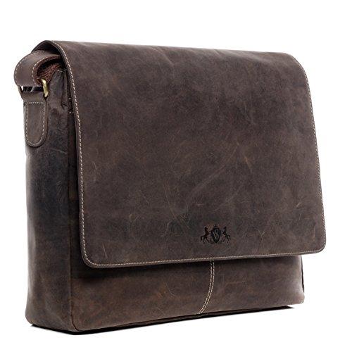 SID & VAIN Laptoptasche Messenger Bag echt Leder Spencer groß Businesstasche 15