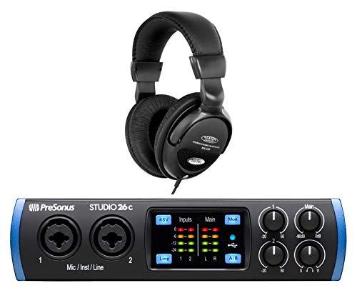 PreSonus Studio 26c USB-C Audio Interface Set (Mobiles 2x4 USB-C Audio Interface mit DAW-Software Bundle & Komfort-Kopfhörer) (Musik-studio-equipment-set)