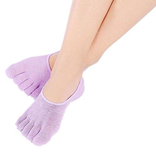 Sannysis - calcetines yoga 5 dedos de algodón para mujer deportivos (Púrpura)