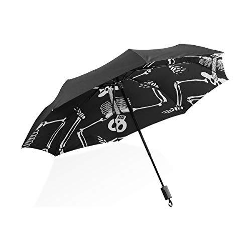 ance Skeletons Wallpaper Schwarz Tragbar Leicht Kompakt Taschenschirm UV Schutz Wasserdicht Sonnig Winddicht Regensicher Rippe Outdoor Reise Frauen Männer Kind ()