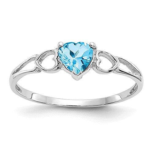 10 K Weißgold, mit echtem blauem Topas Birthstone Ring-Größe L 1/2, höhere als Gold 9 Karat Gold (10k Birthstone Ring)