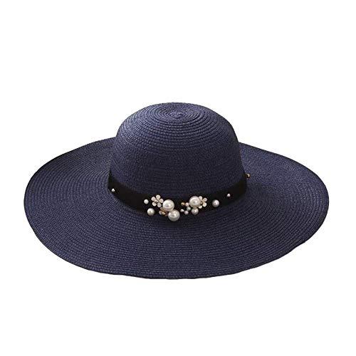 Sonnenhüte Strohhut Frauen Sommer Strand Sonnenhüte Anti UV Reise Visier Hut Faltbare Wide Brim Cap (Farbe: Blau, Größe: 56-58cm) -