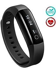 Fitness Tracker, Mpow IP68 Wasserdichte Smart Fitness Armbänder mit Pulsmesser, OLED Bildschirm Herzfrequenz Monitor Schwimmsportuhr Aktivitätstracker Podometer für Android iOS Smartphones z.B. iPhone 7/7 Plus/6S/6/5/5S, Samsung S8/S7, Huawei, LG, Sony, schwarz