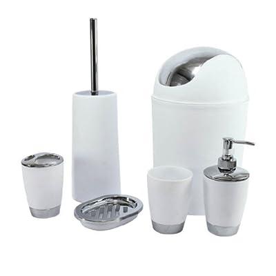 SQ Professional Ltd 6pc Bathroom Accessory Set - White
