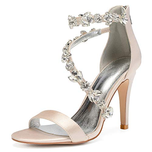 Charmstep 81430-11 Frauen Knöchelriemen High Heels Sandalen Peep Toe Strass Satin Pumps Hochzeitsschuhe,Champagne,38EU -