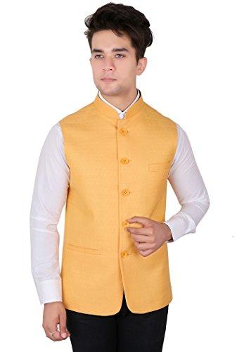 La Rainbow Casual Silk Blend Yellow Nehru Jacket For Men/Boys