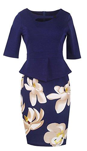 Minetom Femme Élégante Bodycon Stretch Slim Floral Au genou Bureau Affaires Crayon Peplum Cocktail Robe Longueur du Genou Bleu02