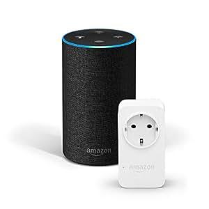 Amazon Echo (2. Gen.), Anthrazit Stoff + Amazon Smart Plug (WLAN-Steckdose), Funktionert mit Alexa