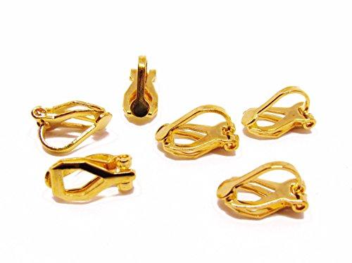 6 Ohrclips Rohlinge, goldfarben, Perlen basteln, Schmuck selbst gestalten
