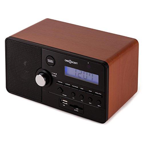 oneConcept Luzern Radio Despertador • Alarma Dual • Almacena hasta 30 emisoras • Puerto USB SD • AUX • Programable • Control Remoto • Diseño Retro • Marrón