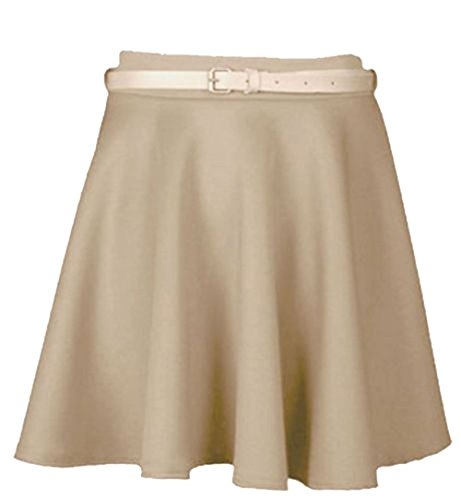 New Womens Ladies Belted Skater Flared Jersey Plain Mini Party Dress Skirt 8-14 Pierre