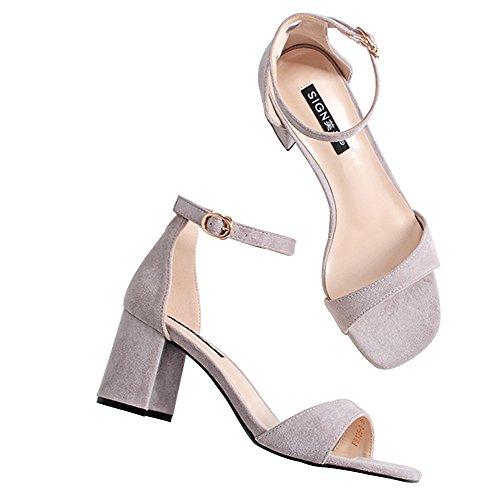 Wealsex damen sandalen blockabsatz high heels mit Schnalle Violett R