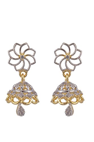 Ketan Jewellers Gold Plated American Diamond Dangle Jhumka New Latest Design For Women (KJ - 165)  available at amazon for Rs.203