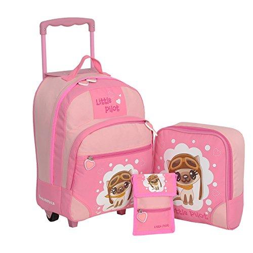 Keanu Kindertrolley 3er Set Reisegepäck stabil, höhenverstellbarem Griff, Reißverschlussfach, Reisekoffer Rucksack Brustbeutel (Pink - Little Pilot)