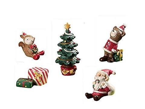 Gzq Jardin Féérique miniature Ornement Père Noël sapin de Noël Ours écureuil Coffret cadeau figurine DIY extérieur Décor Décoration de la