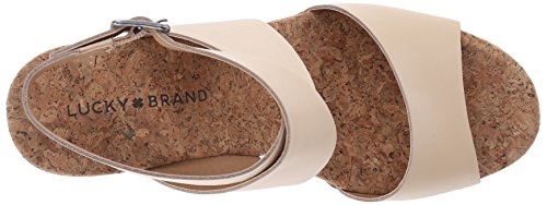 Lucky Brand Missey Cuir Sandales Compensés Light Natural