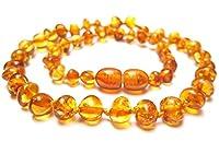 Aucune substance chimique n'a été utilisée lors de la fabrication de ce collier d'ambre. Les perles sont taillées dans des morceaux d'ambre et ne subissent aucun traitement à part un polissage doux et le perçage pour faire passer le cordon de coton. ...