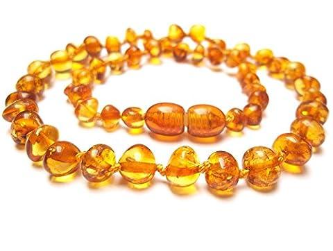 Collier Ambre 33cm. - 100% Plus Haute Qualite Certifie l'Ambre la Baltique Authentique Collier Perles. Amberta®