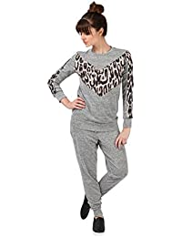 350487c5853 Womens Leopard Two Piece Joggers Lounge Set Plus Size Comfort Fit