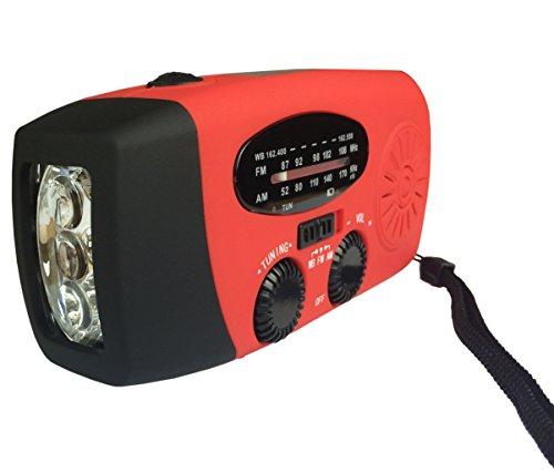 Radio (am/fm/WB = Band Wetterstation) + Taschenlampe LED + Dynamo + Solarpanel + Ladegerät für Handys–Gadget Multifunktions–Kabel USB inklusive. Ideal für Camping und/oder Dringlichkeit–funktioniert mit iPhone, Android, und anderen–Farbe Schwarz oder Rot