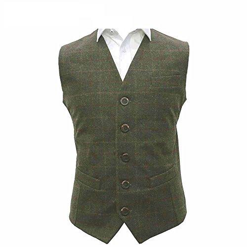 King & Priory Herren Weste grün moosgrün Gr. XXX-Large, moosgrün Moss Tweed