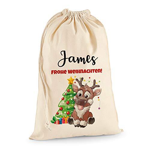Kostüm Boy Santa - Tullun Personalisierte Santa Weihnachtssack Extra groß XL (75 x 49 cm 38 Liter) - Rentier Rudolf