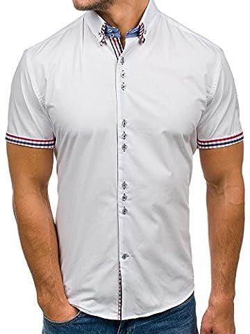 BOLF Herren Freizeithemd Kurzarmhemd Shirt Slim Fit Polo Klassisch BOLF
