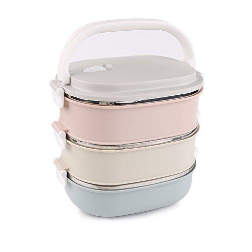 Lunchbox/Bento Box, Tragbare Isolierung Edelstahl Wärmeisolierung mit Griff Mittagessen Behälter Bento Box für Kinder und Erwachsene 3 Layer