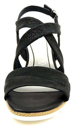 Leder Black Marco Damen Sandalette Antic Tozzi Gelsohle Keil Schwarz n0wOXPk8